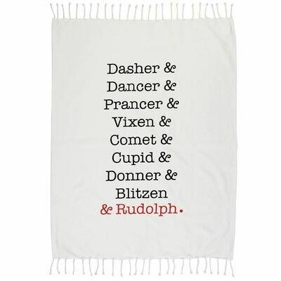 Reindeer Names Throw Blanket