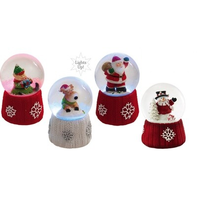 Cardigan Knit Collection Mini Snow Globes, Set of 4 Assorted