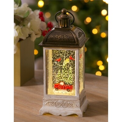 Red Truck & Cardinals Winter Forest Scene LED Water-Filled Lantern