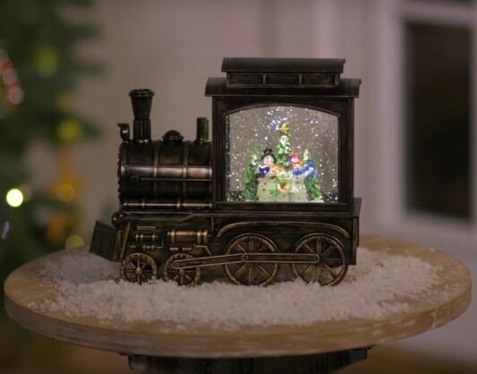 Snowman Family on a Train Musical Lantern