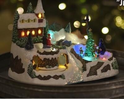 Musical Christmas Village w/River