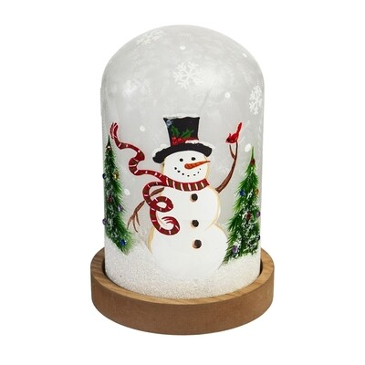 Glass Hand painted Snowman and Cardinal LED Cloche w/ Wooden Base