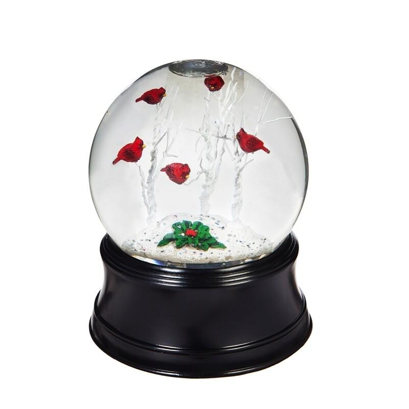 Perching Cardinals Water Globe