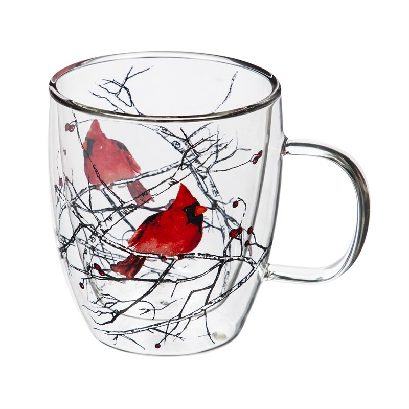 Cardinal on Branch Double Wall Glass Cafe Cup with Gift Box, 12 ounces