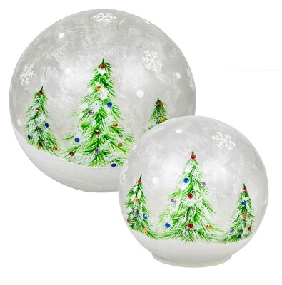 Hand-painted Christmas Trees Globes, Set of 2