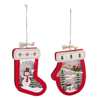 Large Wooden Mitten & Stocking Light-Up Wall Ornaments, Set of 2
