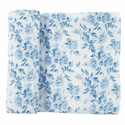 Blue Rose Muslin Swaddle Blanket