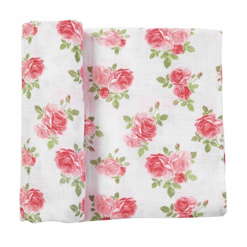 Pink Rose Garden Muslin Swaddle Blanket