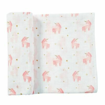 Pink Unicorn Muslin Swaddle Blanket