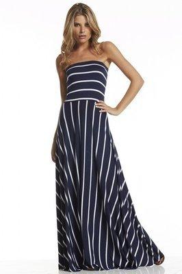 Navy & White Striped Maxi Dress