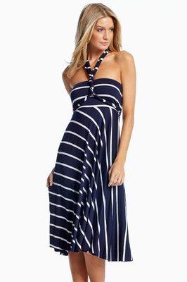 Navy & White Striped Convertable Maxi Dress/Skirt