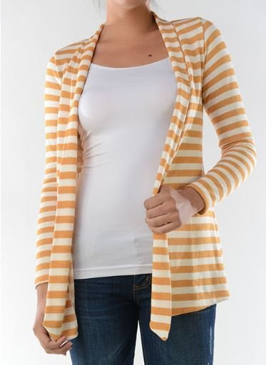 Striped Terry Cloth Open Front Cardigan - Mustard