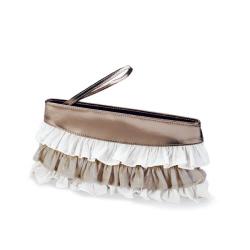 Metalic and Lace Ruffel Clutch w/Zipper