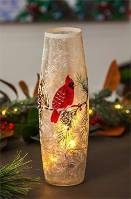 Cardinal and Pinecones Glass Hand-painted Light-up Glass Cylinder Table Top Decor