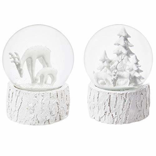 White Winter Scene Water Music Globes, 2 Assorted