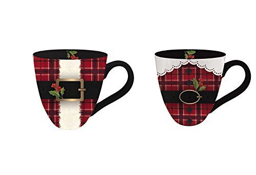 Mr. and Mrs. Claus Ceramic Oversized Coffee Mug, 18oz, Set of 2