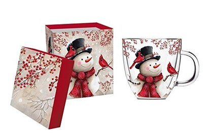 Snowman and Cardinal Double Wall Glass Tea or Coffee Cup- With Matching Gift Box, 12 ounces