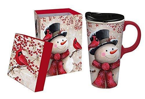 Snowman and Cardinal Ceramic Travel Mug with Gift Box, 17oz