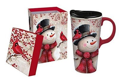 Snowman and Cardinal Ceramic Travel Mug with Gift Box, 17oz