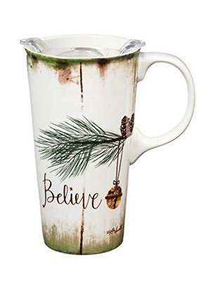 Believe Ceramic Travel Mug with Gift Box, 17oz