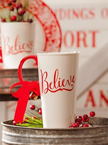 Red, White and Believe Ceramic Travel Mug with Gift Box, 17oz