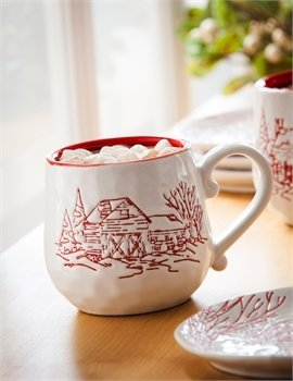 Holiday Farmhouse Ceramic Mug, 140z