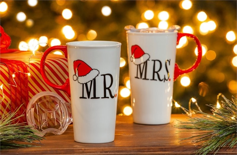 Mr. and Mrs. Santa Clause Ceramic Travel Cups, Gift Set of 2