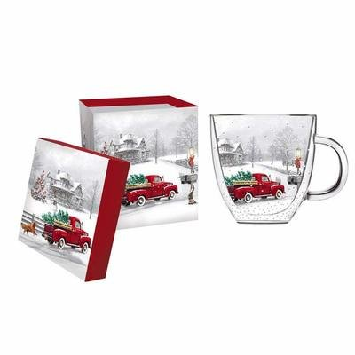 Winter Truck Glass Coffee Cup with Gift Box, 12 ounces
