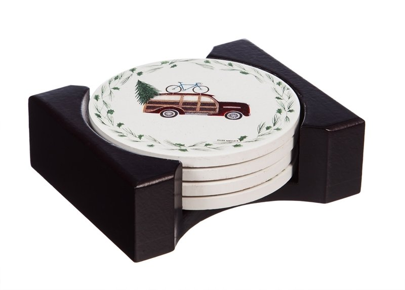 Happy Holidays Vintage Cars Ceramic Coasters, Set of 4