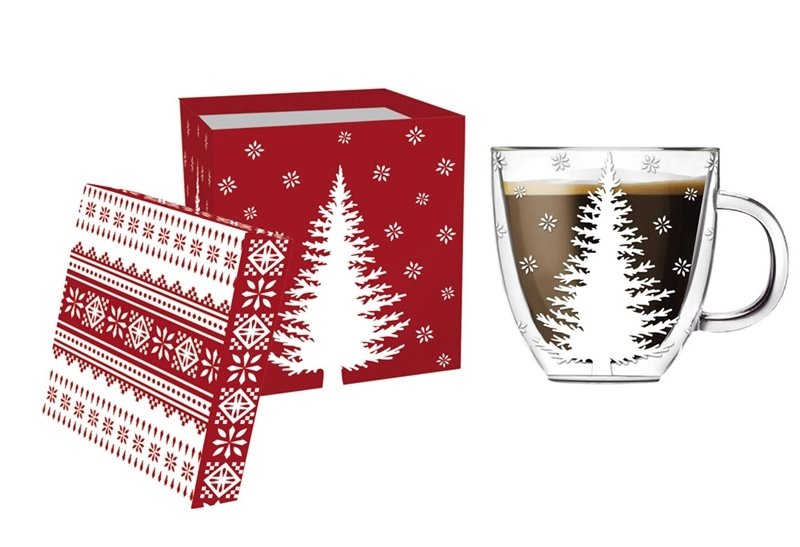 White Tree Glass Coffee Cup, 12 ounces
