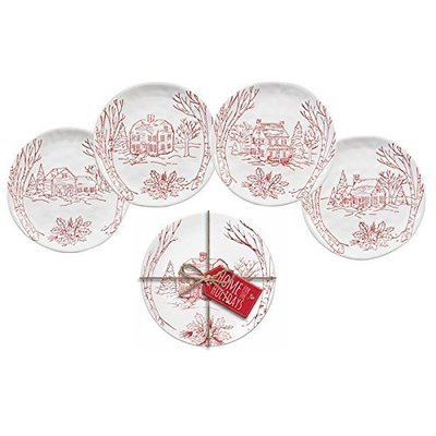 Holiday Farmhouse Ceramic Appetizer Plates, Set of 4
