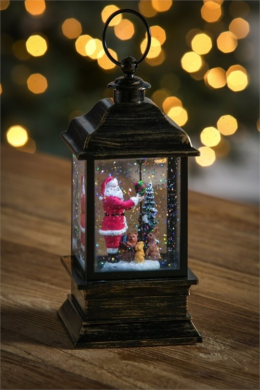 Santa Clause LED Water Lantern w/Floating Glitter