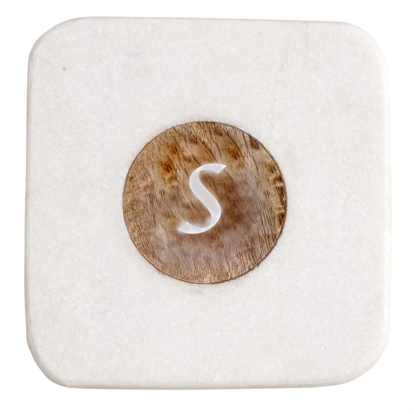 Square Marble Serving Board with Initial