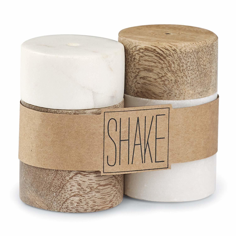 Mud Pie Marble & Mango Wood Salt & Pepper Shakers