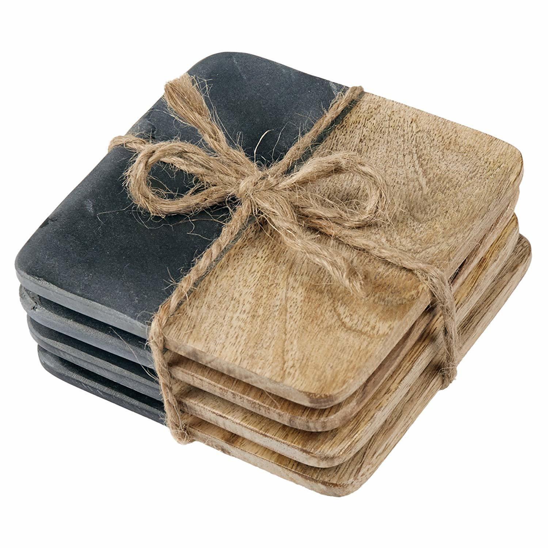 Mud Pie Slate & Wood Coasters, Set of 4