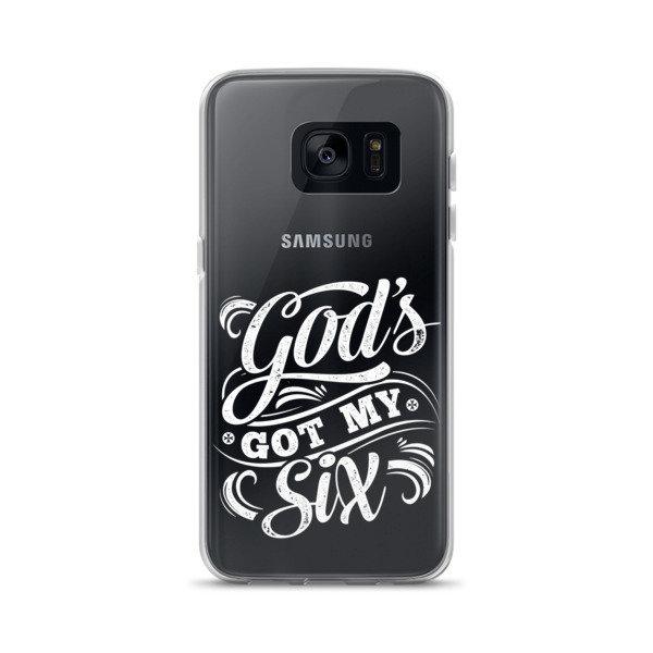"""God's Got My Six"" Samsung Case - White Lettering"