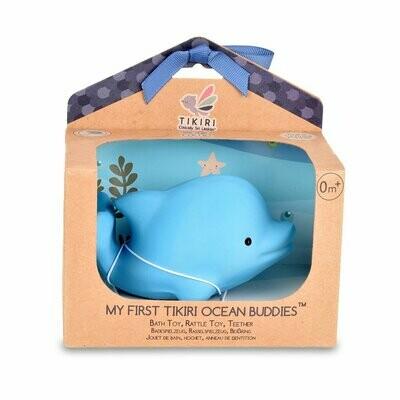 Tikiri - Ocean Buddies - Dolphin - Natural Rubber Baby Rattle