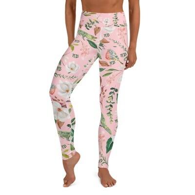 Pink Magnolia Yoga Leggings