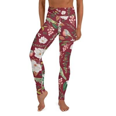 Maroon Magnolia Yoga Leggings