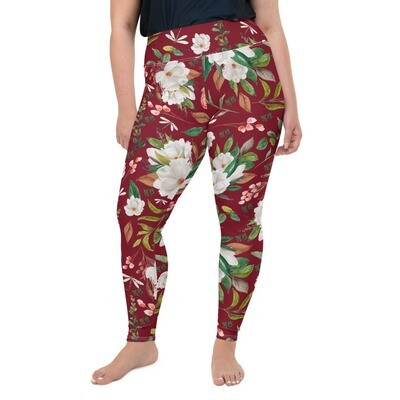 Maroon Magnolia Plus Size Leggings