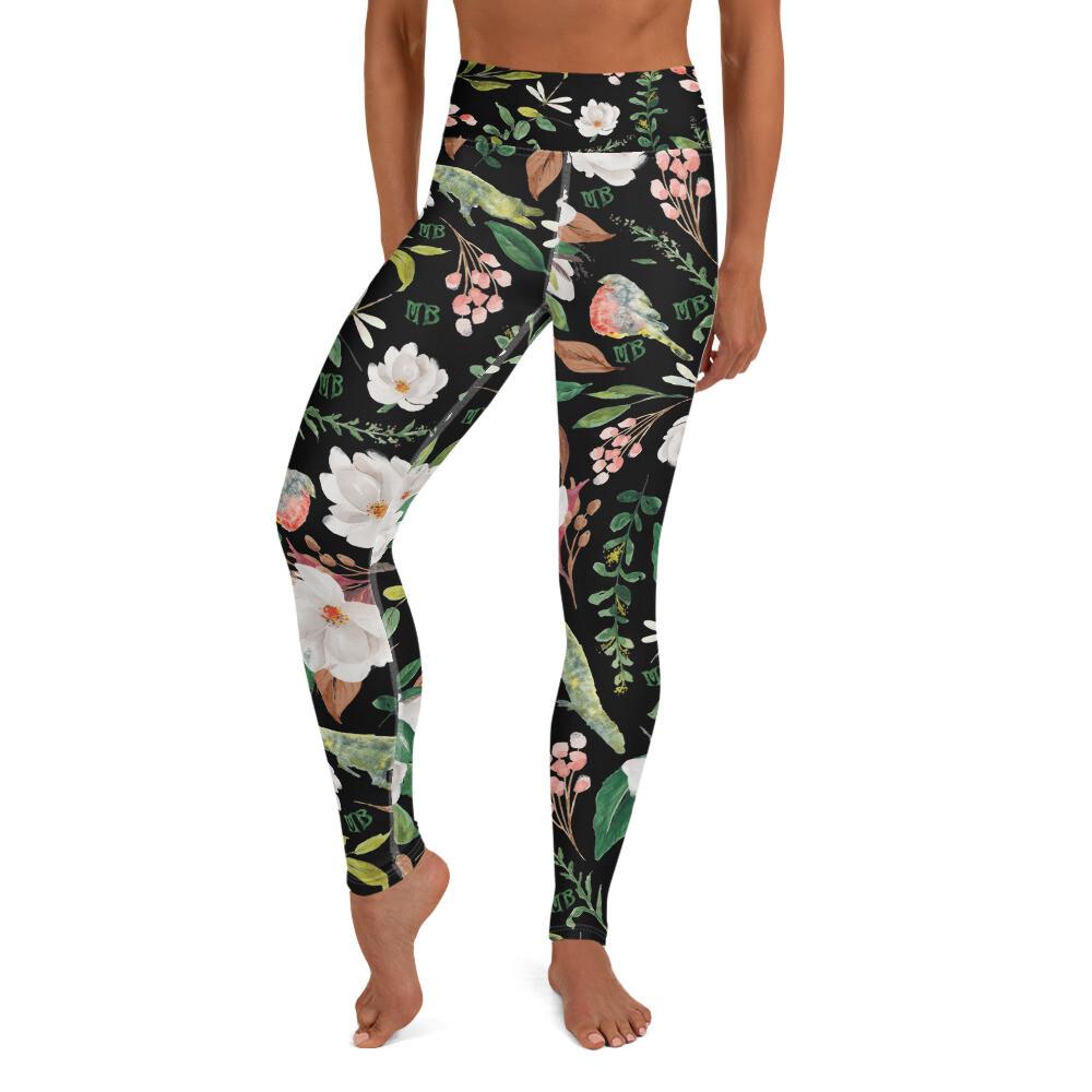 Black Magnolia Yoga Leggings
