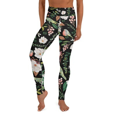 Black Magnolia Yoga Leggings