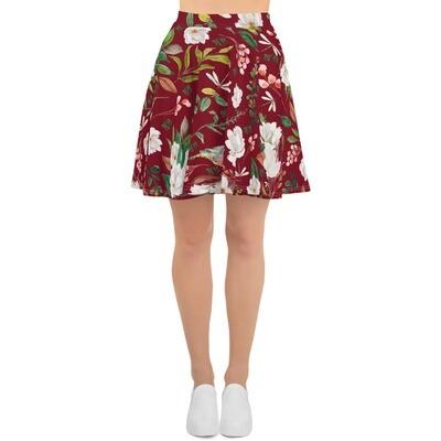 Maroon Magnolia Skater Skirt