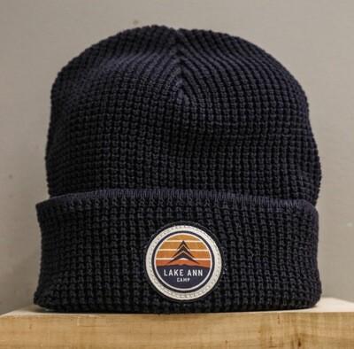 Navy Waffle Knit Cap