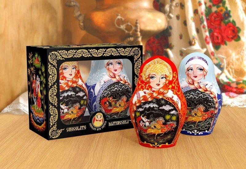 Изделия шоколадные фигурные: подарочный набор «Матрешка Зима-Лето» c сюрпризом