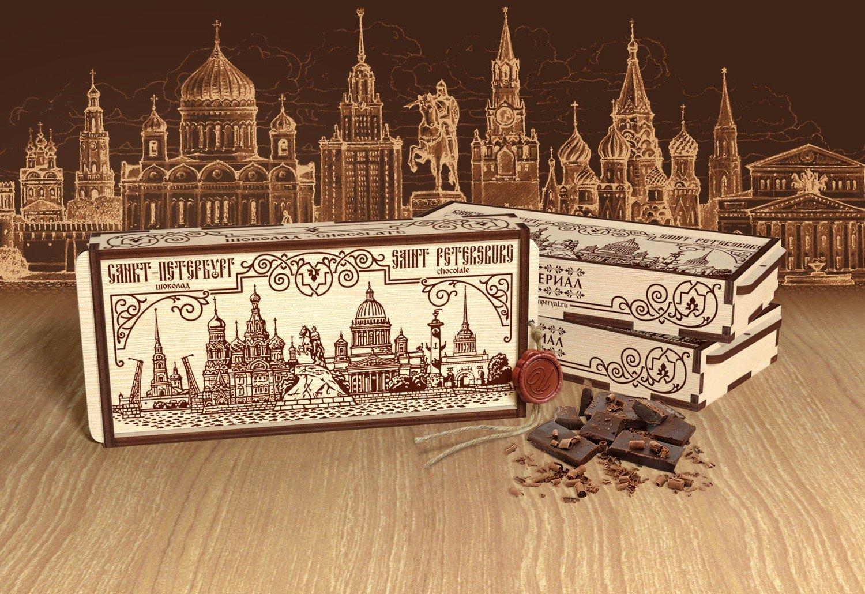 Шоколад в деревянной шкатулке «Санкт Петербург»