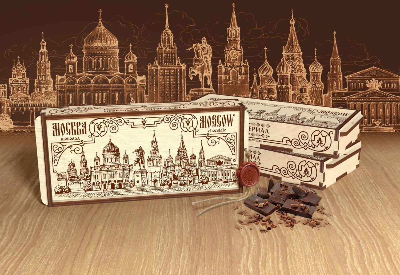 Шоколад в деревянной шкатулке «Москва»