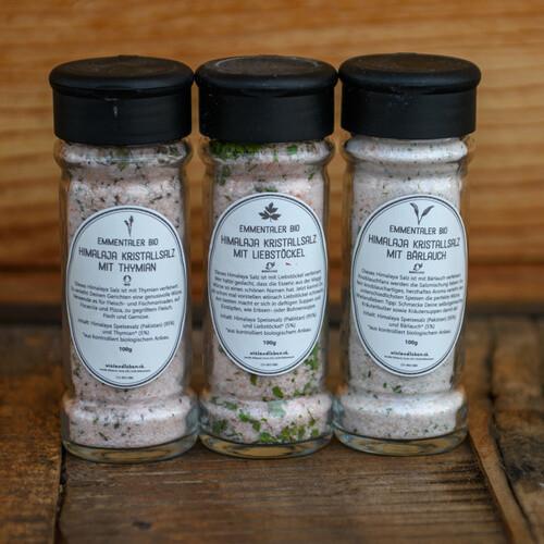 Emmentaler Bio Himalaya Kristallsalz mit verschiedenen Kräuter