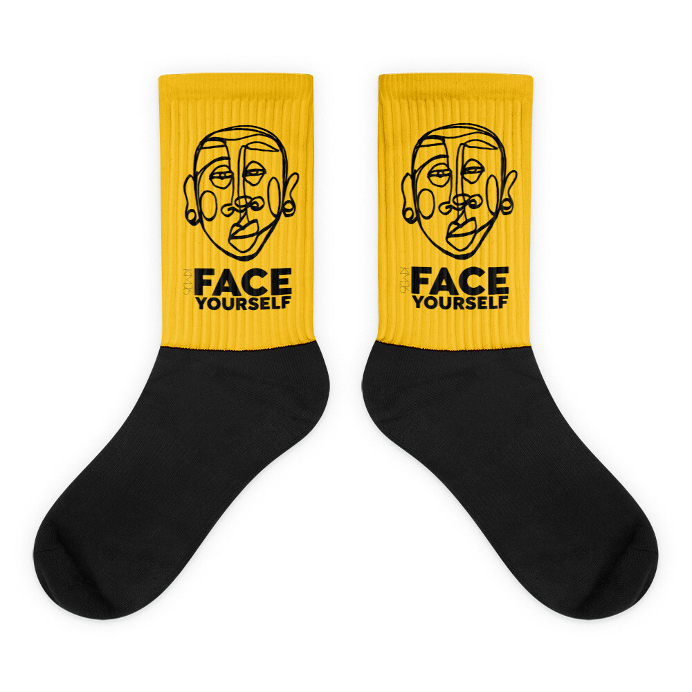 'Face Yourself' Mustard Socks