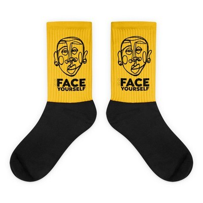 'Face Yourself' Mustard Socks